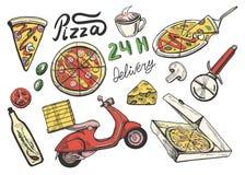Geplaatste de pictogrammen van de pizzalevering Royalty-vrije Stock Fotografie