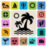 Geplaatste de pictogrammen van de reis en van de Vakantie vector illustratie