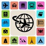 Geplaatste de pictogrammen van de reis en van de Vakantie royalty-vrije illustratie