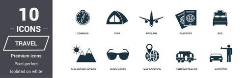 Geplaatste de pictogrammen van de reis Het Symboolinzameling van de premiekwaliteit De vastgestelde eenvoudige elementen van het  royalty-vrije stock afbeeldingen