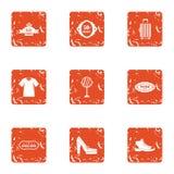 Geplaatste de pictogrammen van de schoolgraduatie, grunge stijl Royalty-vrije Stock Fotografie