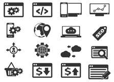 Geplaatste de pictogrammen van SEO en van de Ontwikkeling Royalty-vrije Stock Foto
