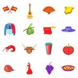 Geplaatste de pictogrammen van Spanje, beeldverhaalstijl Royalty-vrije Stock Fotografie