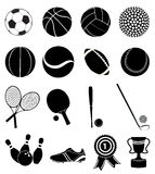 Geplaatste de pictogrammen van sporten Stock Foto's