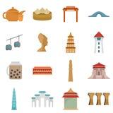 Geplaatste de pictogrammen van de de stadshorizon van Taipeh Taiwan, vlakke stijl stock illustratie