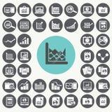 Geplaatste de pictogrammen van statistieken Stock Foto