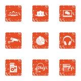 Geplaatste de pictogrammen van de stemcontrole, grunge stijl Stock Afbeelding