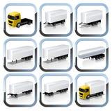 Geplaatste de Pictogrammen van Trailaers van de vrachtwagen Stock Fotografie