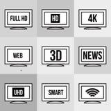 Geplaatste de pictogrammen van TV Royalty-vrije Stock Afbeelding