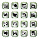 Geplaatste de pictogrammen van verschillende media Stock Afbeelding