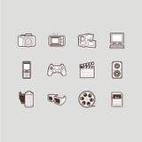 Geplaatste de pictogrammen van verschillende media Royalty-vrije Stock Afbeeldingen