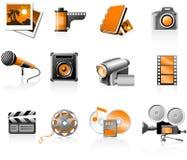 Geplaatste de pictogrammen van verschillende media Stock Afbeeldingen