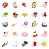Geplaatste de pictogrammen van de vitaminebom, isometrische stijl Royalty-vrije Stock Foto