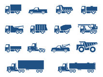 Geplaatste de pictogrammen van vrachtwagens Stock Fotografie