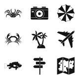 Geplaatste de pictogrammen van de waterkant, eenvoudige stijl Royalty-vrije Stock Afbeeldingen