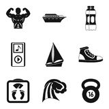 Geplaatste de pictogrammen van de waterpool, eenvoudige stijl Stock Afbeeldingen