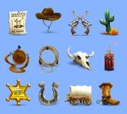 Geplaatste de Pictogrammen van Wilde Westennen stock illustratie