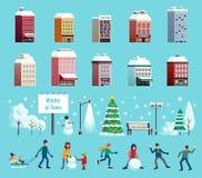Geplaatste de Pictogrammen van de de winterstad royalty-vrije illustratie
