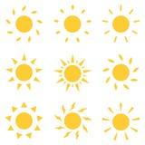 Geplaatste de pictogrammen van de zon Vector illustratie vector illustratie