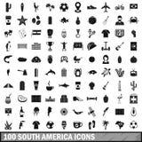 100 geplaatste de pictogrammen van Zuid-Amerika, eenvoudige stijl Stock Foto