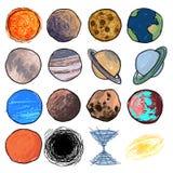 Geplaatste de planeten van de kinderen` s tekening Royalty-vrije Stock Afbeeldingen