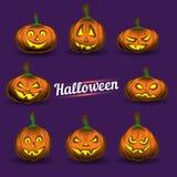 Geplaatste de Pompoenen van Halloween vector illustratie