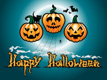 Geplaatste de Pompoenen van Halloween Royalty-vrije Stock Afbeeldingen