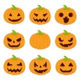 Geplaatste de Pompoenen van Halloween Vector pictogrammen Stock Foto's
