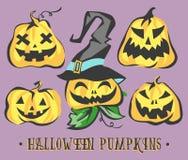 Geplaatste de Pompoenen van Halloween Vector voorwerpen Royalty-vrije Stock Fotografie