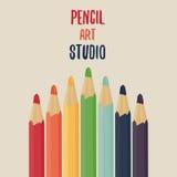 Geplaatste de potloden van de kleur De studio van de potloodkunst Royalty-vrije Stock Afbeeldingen