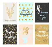 Geplaatste de prentbriefkaaren van Kerstmis Royalty-vrije Stock Foto