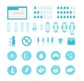 Geplaatste de Productenpictogrammen van de beeldverhaal Vrouwelijke Hygiëne Vector Stock Afbeelding