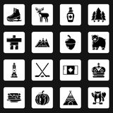 Geplaatste de reispictogrammen van Canada, eenvoudige stijl Stock Foto's
