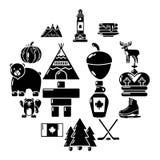 Geplaatste de reispictogrammen van Canada, eenvoudige stijl Stock Fotografie