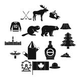Geplaatste de reispictogrammen van Canada, eenvoudige stijl Stock Afbeelding