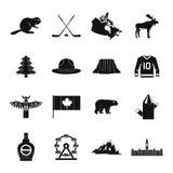 Geplaatste de reispictogrammen van Canada, eenvoudige stijl Royalty-vrije Stock Afbeeldingen