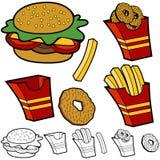 Geplaatste de Ringen van de Ui van de Gebraden gerechten van de hamburger royalty-vrije illustratie