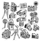 Geplaatste de schetspictogrammen van de camerakrabbel vector illustratie