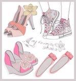 Geplaatste de schoenen van de manier Stock Foto