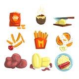 Geplaatste de schotels van het aardappelvoedsel, snacks en de gekookte vectorillustraties van aardappelproducten Stock Fotografie