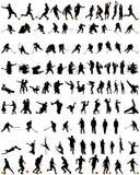 Geplaatste de silhouetten van de dans en van de sport Stock Afbeelding