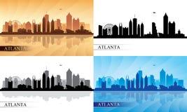 Geplaatste de silhouetten van de de stadshorizon van Atlanta Stock Fotografie