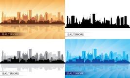 Geplaatste de silhouetten van de de stadshorizon van Baltimore Royalty-vrije Stock Afbeelding