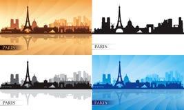 Geplaatste de silhouetten van de de stadshorizon van Parijs Stock Foto