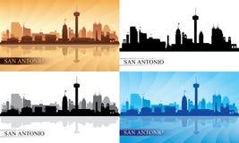 Geplaatste de silhouetten van de de stadshorizon van San Antonio Royalty-vrije Stock Fotografie