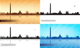 Geplaatste de silhouetten van de de stadshorizon van Washington Royalty-vrije Stock Afbeeldingen