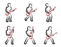 Geplaatste de silhouetten van de gitaarspeler Royalty-vrije Stock Foto's