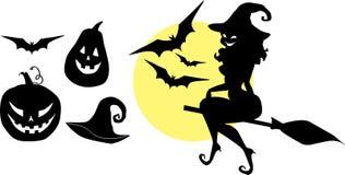 Geplaatste de silhouetten van Halloween Stock Afbeelding