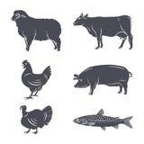 Geplaatste de silhouetten van landbouwbedrijfdieren Royalty-vrije Stock Afbeeldingen