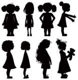Geplaatste de silhouetten van meisjes. Royalty-vrije Stock Afbeelding